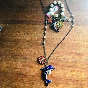 BETSEY JOHNSON || Dolphin necklace bracelet set